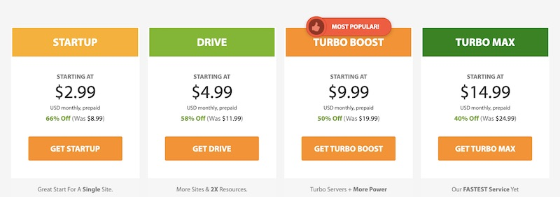 Screenshot of A2 Shared Hosting Pricing Plans