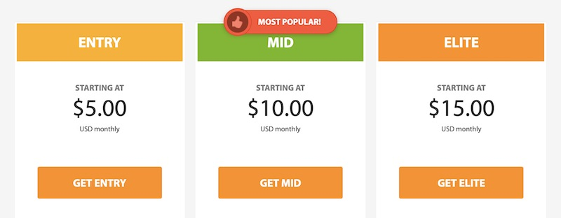 Screenshot of A2 VPS Hosting Pricing Options