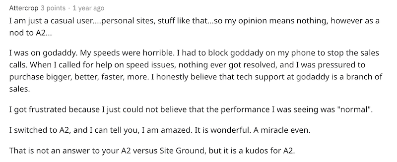 Screenshot of user suggesting A2 is better than SiteGround