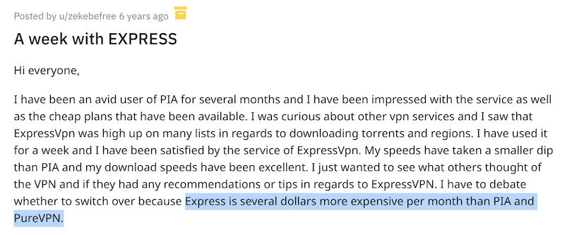 User pointing out that ExpressVPN is more expensive than other options