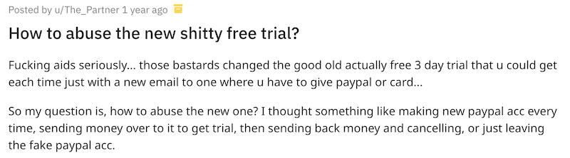 Screenshot of a user explaining how he abused NordVPN's free trial