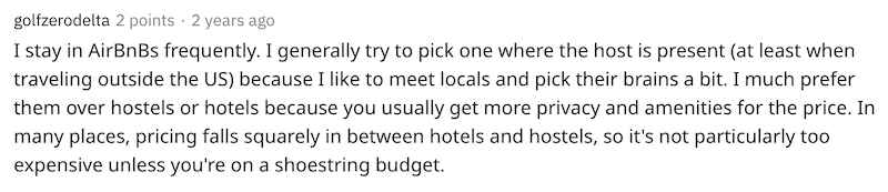 Screenshot of Reddit user explaining their preference for booking Airbnbs vs. hotels