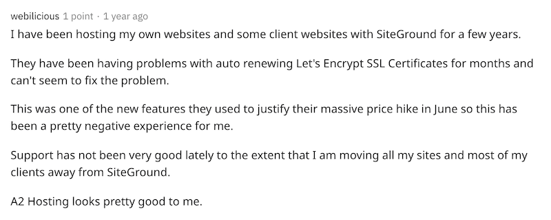 User directly comparing A2 Hosting and SiteGround on Reddit