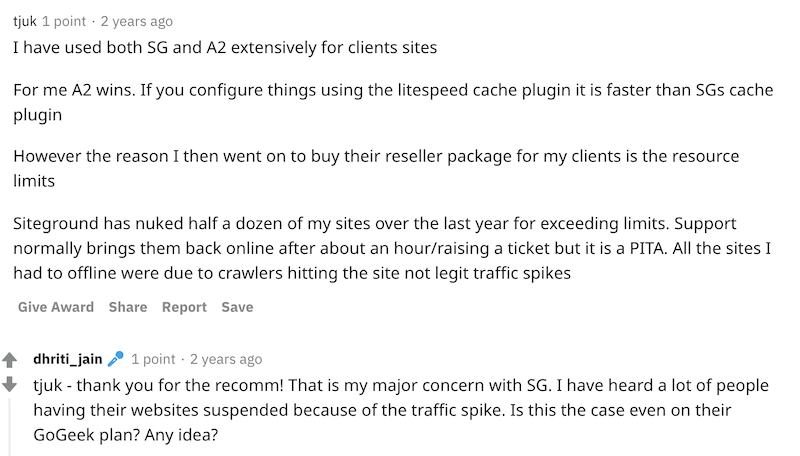 Screenshot of Reddit user describing his experience with SiteGround suspending his sites for exceeding traffic limits